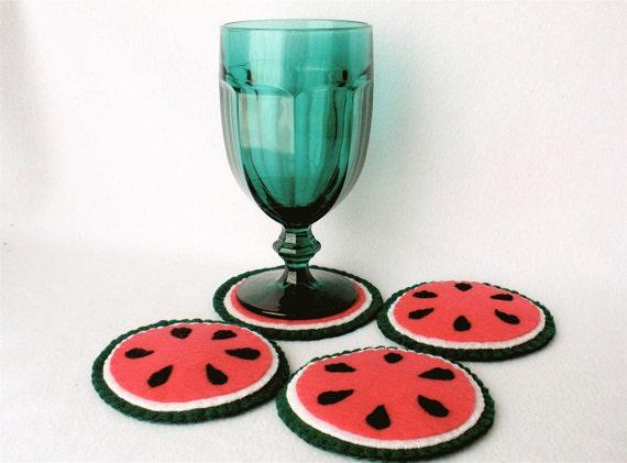 Fruit Coasters, Felt Watermelon Coasters,  MugMats Hand Stitched Watermelon Slice, Set of Four, Summer Table