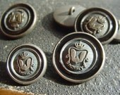 MCMXCV - Mystical Rare Set with 4 Big and 2 Small Plastic Vintage Buttons From Grandmothers Button Box-