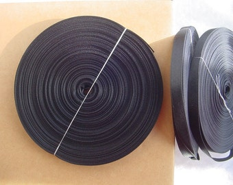 Super SALE = 1 Roll = 55 Yards = 50 Meters of Black Reversible Satin ribbon - Double Faced Satin- Trim - Braid- Tape - Job Lots - Wholesale-