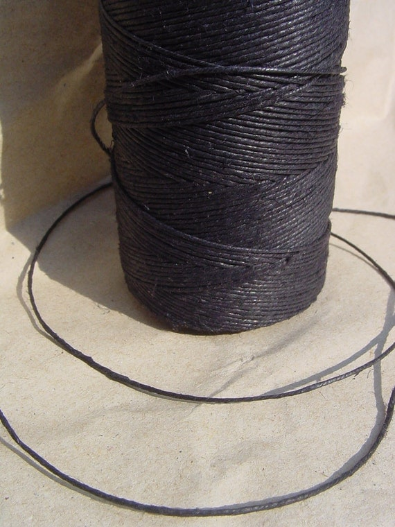 Black Linen Thread - 30 Yards - 1 mm diameter - Tie, Strap, Band, Rope, Twine