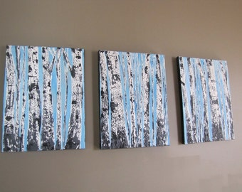 Made To Order-Choose Size-Bare Tree Winter Blue Silver Aspen Birch Tree Woodland Textured-Multi Panel Original Art by MyImaginationIsYours