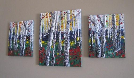 impasto, textured, aspen, birch tree, forest landscape, colorful, fall, autumn decor