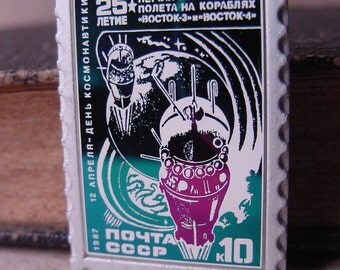 Vostok 3 and 4 Space Rockets of the Soviet Union Badge - Post CCCP - 10 Coins Vintage 1987 Chameleon Soviet Russian Stamp Form Badge