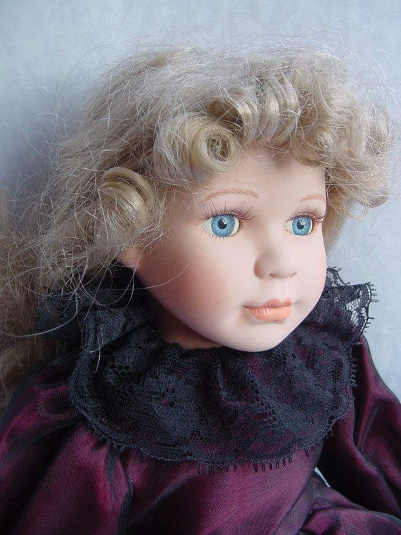 Leonardo Collection Porcelain Doll - Vintage Golden Haired Lady - Treasury Item - From Grandmothers Box