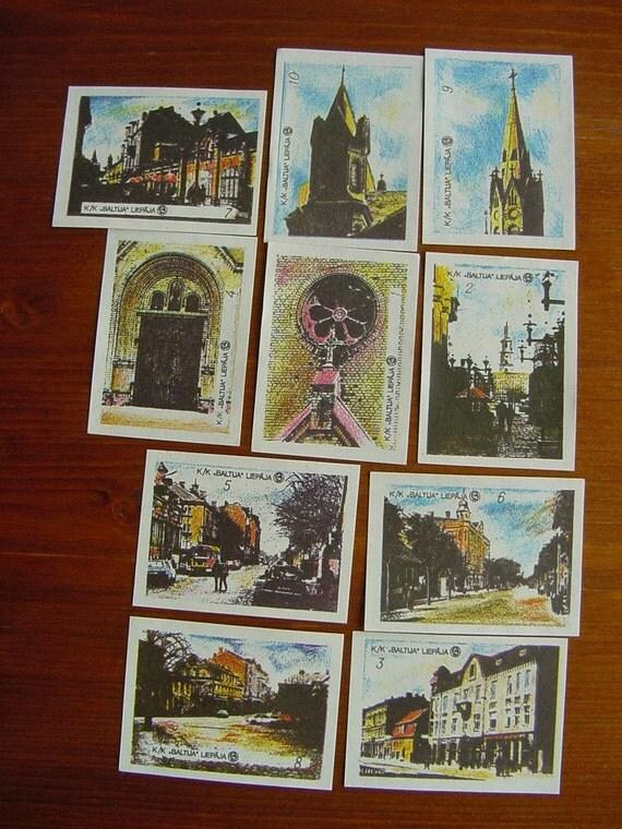 Town in 10 Vintage Matchbox Stamps - Set of Illustration Matchbox Labels - Philately - Collage Destash