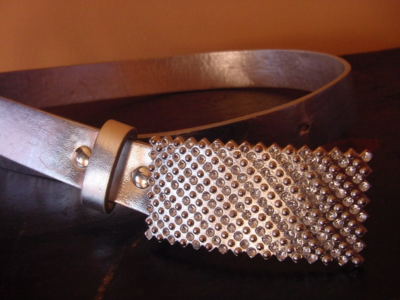 Brilliant Accessors - Diamond Shiny Silver Vintage Belt ... a Fashionista Statement Piece Size  XS S