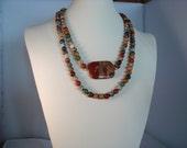 "Jasper mix necklace with rainbow brecciated jasper pillow focal stone ""Jasper's Break"""