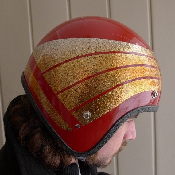 Vintage Red and Gold Motorcyle Helmet