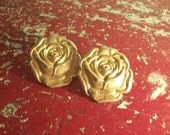 Everything's Coming Up Roses Vintage Gold Earrings