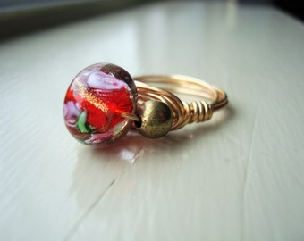 Red Flower Wire-Wrapped Ring