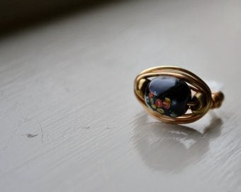 Black Spotted Wire-Wrapped Ring