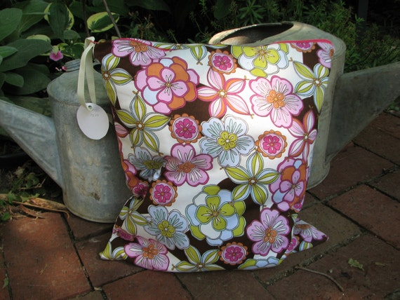 SALE Wet bag for Cloth diaper Colorful Flowers Medium size 13 x 13