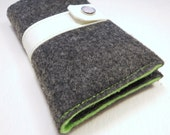 iPhone 4 wallet in dark gray and lime green eco wool and vegan leather