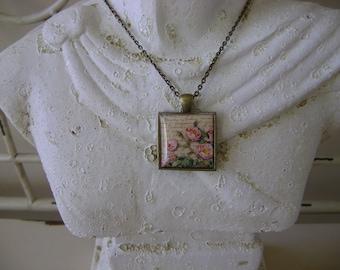 Antique French Script Floral Pendant Necklace