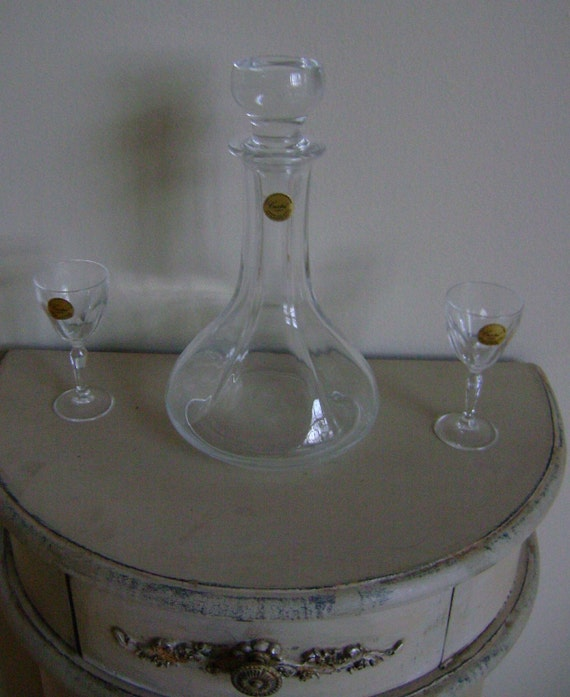 Vintage 3 Piece Fine Lead Crystal Liqueur Set - Made in France