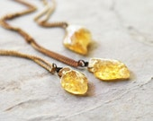 no. 48 - carved citrine leaf on vintage brass chain