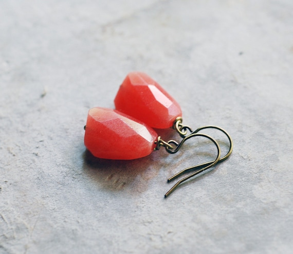 no. 78 - grapefruit pink jade nugget earrings