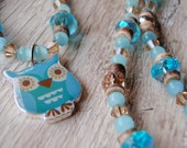 50% OFF CLEARANCE ~ Blue and Brown Little Owl Necklace and Earring Set
