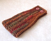 Crocheted Headband Ear Warmer Autumn Earth Tones with Brown Trim and Maroon Button Closure