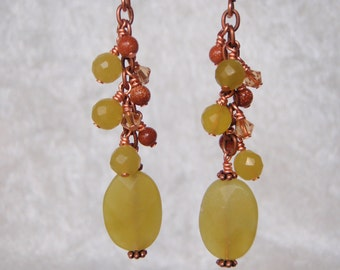 Olive and Copper Dangly Stone Earrings