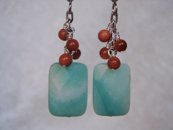 Dangly Gemstone Amazonite and Goldstone Earrings