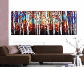 """72""""xxl large abstract birch garden original texture palette knife painting, gallery back wrap stretched canvas from jolina anthony signet"""