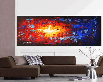 "contemporary art painting 72"" blue , red,  acrylic painting, yellow oil painting watercolor painting original painting"