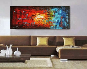 """Art Painting abstract art abstract  painting 72"""" x30"""" HUGE acrylic painting decorative arts oil paining"""