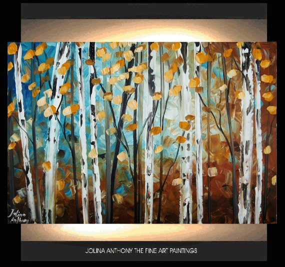 "36"" large abstract birch garden original texture palette knife painting free shipping, from jolina anthony signet  express shipping"