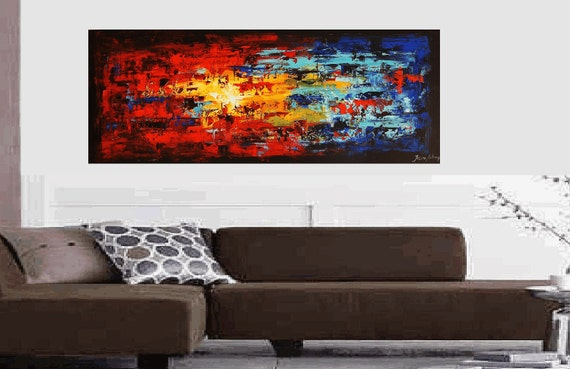 "72"" large ready to hang painting original from listed artist jolina anthony fast and free shipping good service"
