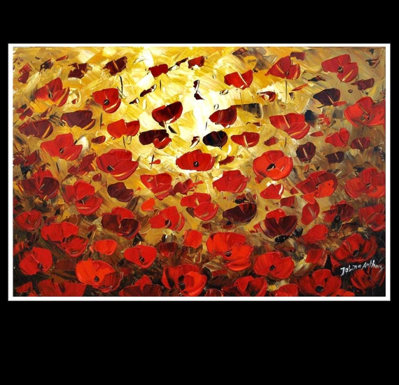 original textured abstract red poppis from listed artist jolina anthony gallery back wrap stretched canvas