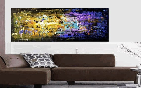 "Enormous 72""xxl Large violet,olivgreen,turquoise abstract  palette knife painting, from Jolina Anthony signet  express shipping"