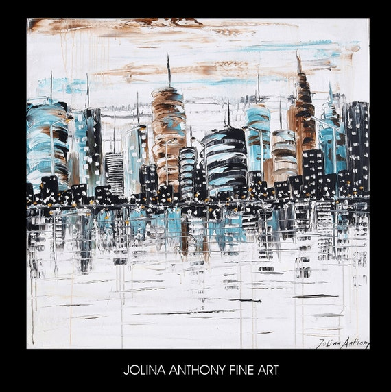 """36"""" large  abstract textured city painting from listet artist  Jolina Anthony express shipping worldwide"""