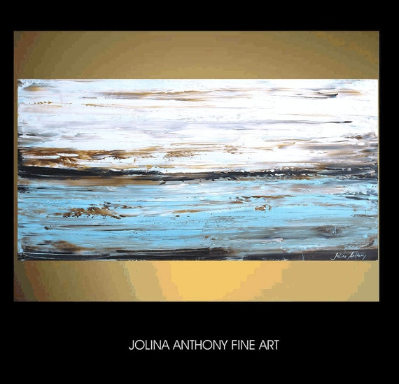 """48"""" x 24""""original abstract painting  landscape painting textured acrylic  painting   from listed artist Jolina Anthony fast shipping"""