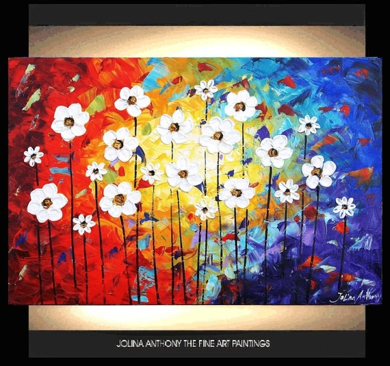 ORIGINAL abstract   white flowers palette knife impasto painting from  jolina anthony gallery back wrap stretched canvas