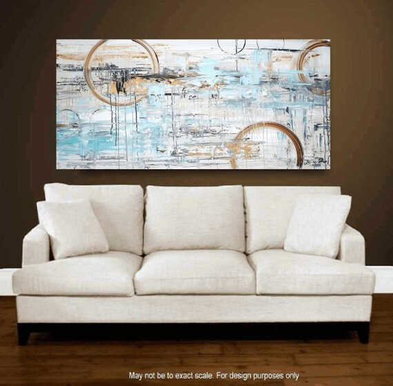 "48"" original turquoise,,gold,creme abstract   painting from listed artist Jolina Anthony fast shipping"