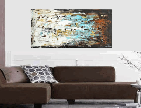 """48"""" original turquoise,,gold,creme abstract   painting from listed artist Jolina Anthony fast shipping"""
