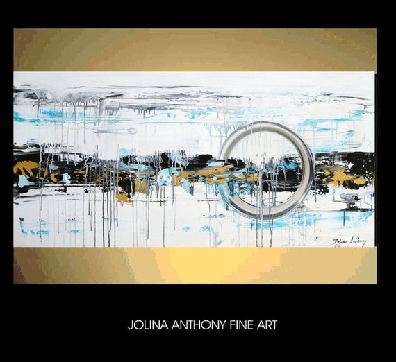 "48"" original turquoise,,gold,creme abstract   painting from listed artist Jolina Anthony free and fast shipping"