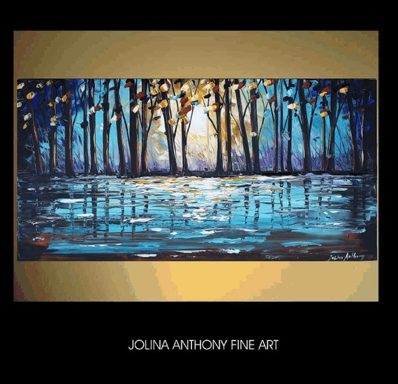 "xxl 48"" original jolinas one of a kind impasto Forrest painting from  jolina anthony gallery back wrap stretched canvas"