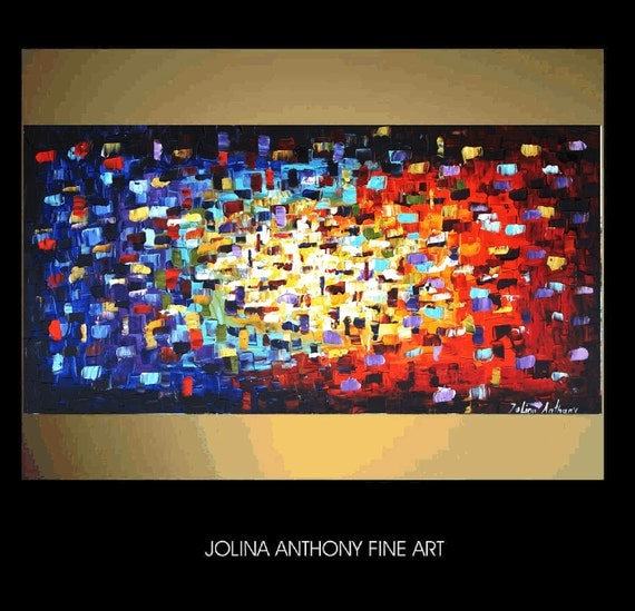"""48""""Art painting original multicolor Abstract palette Knife textured painting from Jolina Anthony fast and free shipping"""