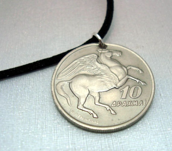 Vintage 1973 PEGASUS Greek coin pendant. Drilled with sterling silver bail. PHOENIX rising, Mythology, Unisex