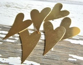 "Medium BRASS Funky Heart 1.5"" x 1"" 24 gauge - Pack of SIX - Metal Stamping Supply - DIY Hand Stamping Blank - Plate"