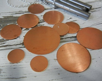 """24g - 7/8"""" Round COPPER Discs -  Pack of 6 - Metal Stamping Blank for Hand Stamped Jewelry Making"""