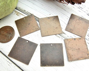 BRASS Square Blank -  Metal Blank for Hand Stamped Jewelry - Vintaj 20mm Altered Blank Squares - Pack of 6 - Metal Stamping Craft Supply