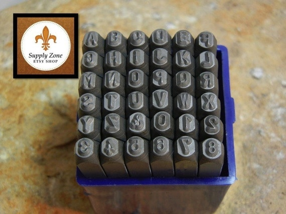 """UPPERCASE 1/8"""" - 3mm Great Economical and Classic Font Set - Alphabet Letter Stamp Set with Numbers - Metal Stamps"""
