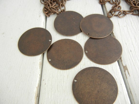 Vintaj 25mm Altered Small Blank Circle - Pack of 6 - Natural Brass - Metal Blank for Jewelry Making