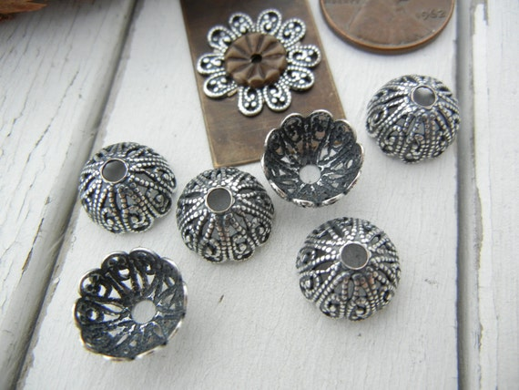Riveting Supply - Silver Plated 12mm Brass Filigree Bead Cap - 6 Pack - Great for Riveting - Cold Connections