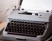 Olympia Typewriter with Hard Case - German - Grey and Brown - Vintage