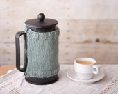 French Press Coffee Pot Cozy - Wool and Mohair - Soft Green