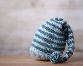 Newborn Merino Silk and Cashmere Blend Elf Hat - Blue Stripes - Photography Prop or Family Keepsake